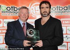 Nordoff Robbins Football Extravaganza 2010 presented to Eric Cantona by Alex Ferguson