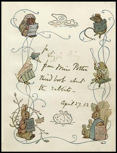 """Beatrix Potter, The Tale of the Flopsy Bunnies. From the first edition (1909) presentation book inscribed by Potter with: """"for Lizzie Airey from Miss Potter Third book about the rabbits - April 25. 12""""."""