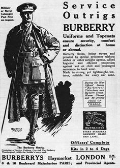 For WWI, Burberry redesigned the coat to include D-rings and shoulders straps, and the British War Board ordered over half a million of them for the military's officers.