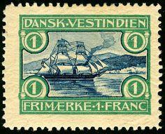 Stamps US Danish West Indies 1905 1 Franc SHIP AFA 30 MH DKK 150 $26 00 | eBay