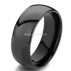 Men's Black Domed Tungsten Carbide Wedding Band