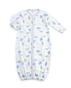 Dynamic Dinos Convertible Pima Sleep Gown, White/Light Blue, Size Newborn-Small