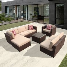 Super Patio Outdoor Rattan Sectional Furniture Set with Beige Seat and Back Cushions Aluminum Frame Espresso Brown PE Wicker >>> Find out more about the great product at the image link. Outdoor Wicker Furniture, Outdoor Decor, Red Throw Pillows, Sectional Furniture, Pillow Set, Rattan, Diy Home Decor, Patio, Backyard