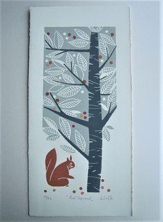 Eichhörnchen Original Limited Edition Linolschnitt von 20 und das ist number16. Handsigniert und nummeriert in Bleistift von mir, der Künstler. Original Linoldruck (nicht digital reproduziert Druck.) Nach Zeichnung, ist die Lino-Platte ist von Hand geschnitzt und von hand