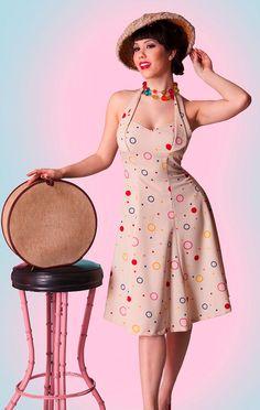 Bettie Page 'Bubbles' Halter neck Vintage style Dress at Atom Retro http://www.atomretro.com/9440
