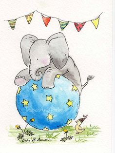Ellie's Balancing Act - 8X10 Archival PRINT - Circus Elephant Nursery Art. $18.00, via Etsy.