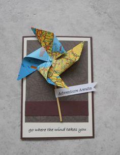Adventure Awaits, windmill, map, bon voyage, pinwheel, handmade card