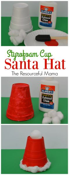 Santa Hat Kid Craft: easy and inexpensive Christmas craft for kids. Use red solo cups for easy easy craft Thanksgiving Crafts, Christmas Crafts For Toddlers, Christmas Arts And Crafts, Kids Christmas Ornaments, Santa Crafts, Preschool Christmas, Toddler Christmas, Christmas Activities, Xmas Crafts