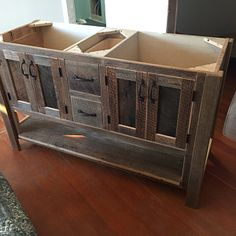 Rustic Industrial Vanity - Dual Sink Reclaimed Barn Wood Vanity w/Sliding Doors Rustic Vanity, Rustic Bathroom Vanities, Wood Vanity, Rustic Doors, Wood Doors, Barn Doors, Barn Wood Cabinets, Barn Tin, Indiana