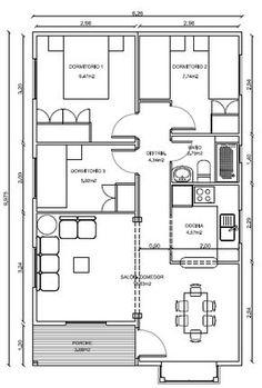 modelos de casas de una planta 3 dormitorios