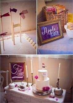vintage cake table with mini flag cake topper #caketopper #littleflags #weddingchicks http://www.weddingchicks.com/2014/01/14/deep-purple-wedding/