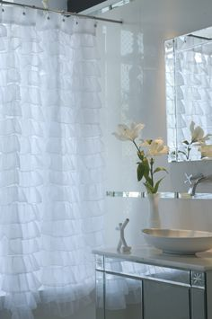 Paloma voile ruffled shower curtain by LasAimara on Etsy, $89.90