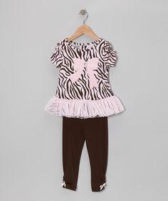 Pink Safari Stripe Tunic & Brown Leggings - Toddler