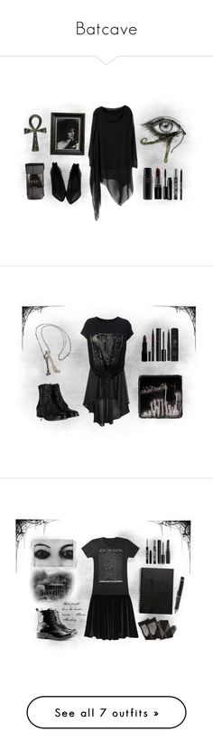 """""""Batcave"""" by voodoo-dolly ❤ liked on Polyvore featuring Beauty Is Life, Smashbox, TokyoMilk, Oribe, Urban Decay, Nicole Miller, black eyeliner, pointed-toe flats, asymmetrical dresses and burgundy lipstick"""