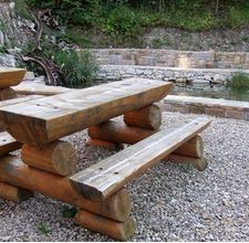 Log table and bench and how to weatherproof wooden furniture