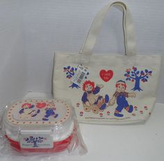 Raggedy Ann & Andy Double BENTO Lunch Box & Tote Bag Japanese