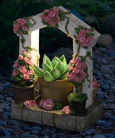 Pink Flower Trellis & Planter Light-Up Miniature Garden Decor miniature world fairy garden forest gnome home #ad