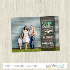 Simple Spring Promotional Photography Marketing Mini Session Card | One-Sided 5x7 PSD | Photoshop Template | MM8004 | Instant Download