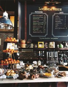 Tempting treats counter at this Italian Taverna, Bar, Cafe, and Restaurant. in Locanda Verdr, New York Bakery Cafe, Cafe Bar, Cafe Bistro, Cafe Shop, Bakery Shops, Bistro Decor, Pub Decor, Restaurant Bar, Restaurant Design