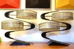 Killer Majestic Z Pair Table Lamps Atomic Eames Era by MoModerne