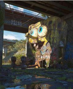 'Pop Culture Dystopia' is an ongoing series by Czech artist Filip Hodas exploring a dystopian world of pop culture icons. More digital art via Behance Arte Pop, Fantasy Kunst, Fantasy Art, Pop Art, Post Apocalyptic Art, Pop Culture Art, Abandoned Places, Abandoned Amusement Parks, Abandoned Buildings