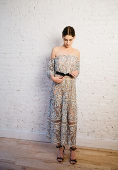 Pretty blue and nude lace maxi with black heels and belt. TheyAllHateUs