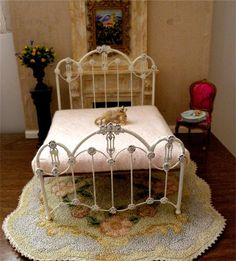 Miniature Artisan Made Wrought Iron Bed Arden by BrassHeartsMinis