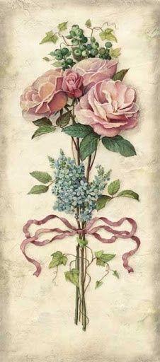 Best Ideas For Vintage Flowers Painting Ana Rosa Decoupage Vintage, Decoupage Paper, Vintage Diy, Vintage Labels, Vintage Cards, Vintage Paper, Vintage Postcards, Vintage Images, Art Floral
