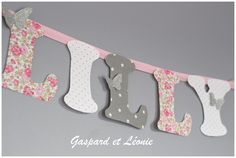Etsy - Shop for handmade, vintage, custom, and unique gifts for everyone Fabric Covered Letters, Gaspard, Deco Table, Baby Sewing, Little Princess, Decoration, Communion, Silhouette Cameo, Liberty