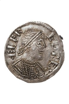 """Back to Saxon (AD 450 - 1066) Title: Obverse of a silver penny of King Alfred: c. 880 Description: Obverse of a silver penny of King Alfred. This side of the coin (the 'head's' side) bears a bust of the king with a band around his head and an incription that reads: """"AELFRED REX"""". On the other side of the coin there is a monogram made up of the letters """"LVNDONIA"""" - medieval Latin for London. #Coins #GoldCoins #Silver #Coins #USCoins #TheHappyCoin"""