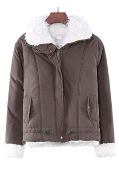 Green Plain Collar With Hat Cotton Padded Coat