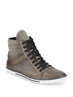 Kenneth Cole Sun-Down Leather & Suede High-Top Sneakers - Grey - Size