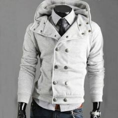 Stylish Casual Jacket Double Breasted Coat Hoodie for Men 4 Colors 4 Sizes