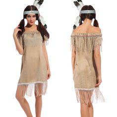 Erwachsene Damen Indianer Kostüm Squaw Wilder Westen Karneval Fasching Kostüm