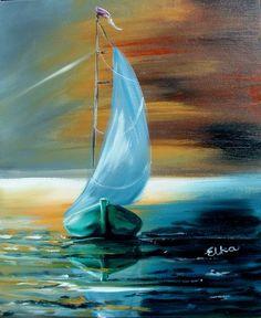 Seascape pallet knife Paintings | ... Original paintings Seascape Modern contemprary Fine Art Landscape ELKA