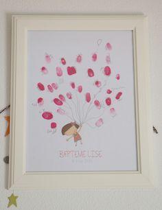 deco bapteme fille rose montgolfiere dore arbre à empreinte