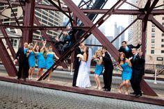 Wedding Party on a bridge downtown