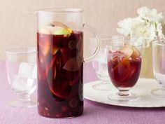 Pomegranate sangria. ....blogger suggested substituting pom juice with cranberry hibiscus & using fresh cranberries