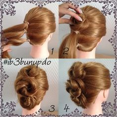 As promissed: the pictorial for my #ib3bunupdo  It is my first, so please be gently  1. Make 3 ponytails above eachother. The top one will be bigger, so if you want to you can take a piece and add it to the middle one. The bottom one is the smallest, so tease that one a bit. 2. Slightly twist the top ponytail and make a loose bun. 3. Do that to all 3. 4. Go around and loosen and pin wherever you think is necesarry  And you're done  Only takes about 5 minutes, so perfect for work or some...