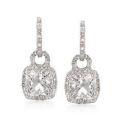 5.50 ct. t.w. White Topaz and .10 ct. t.w. Diamond Drop Earrings in Sterling Silver