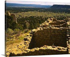 High angle view of ruins of a building, Atsina Pueblo, Ramah Navajo Indian Reservation, El Morro National Monument, Cibola County, New Mexico