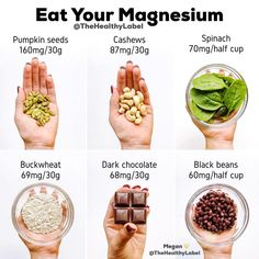 Sources of MAGNESIUM ⚡️why is magnesium important to include in our diets, and how can we incorporate magnesium-rich foods? Vegan Nutrition, Health Diet, Health And Nutrition, Health Vitamins, Holistic Nutrition, Healthy Tips, Healthy Snacks, Healthy Eating, Foods High In Magnesium