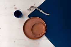 Handmade terracotta plate with geometrical drawing by turbotDesign on Etsy
