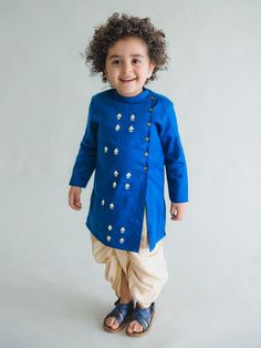 Royal Blue Embroidered Cotton Satin Kurta with Beige Dhoti - Set of 2 Ethnic Wear For Boys, Kids Indian Wear, Baby Boy Dress, Baby Boy Outfits, Baby Dresses, Kid Outfits, Traditional Dress For Boy, Kids Kurta Pajama, Kids Wear Online