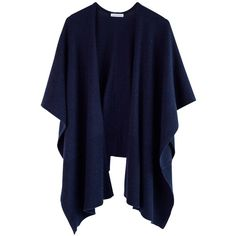 Ille De Coco - Luxe Poncho - Navy Marl ($285) ❤ liked on Polyvore featuring accessories, scarves, navy shawl, navy scarves, navy blue scarves, wool shawl and wool scarves