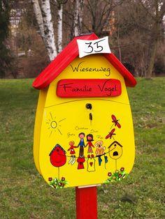 Briefkasten - Holzbriefkasten - handbemalt - Individualisierung - Personalisierung - Familie - Farbig - verschiedene Farben - personalisiert - Individualisiert