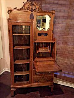antique combination oak bookcase u0026 secretary desk circa 1900u0027s