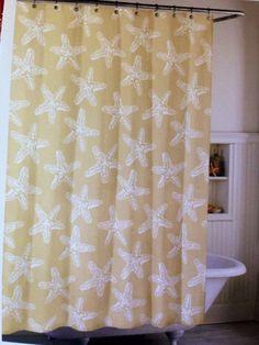 Tan White Starfish Shower Curtain NEW Coastal Collection Beach ...