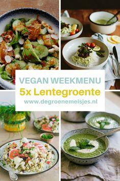 Dit vegan weekmenu met 5 recepten draait om lente groenten. Denk aan peultjes, radijsjes, asperges en bloemkool Ik vind het leuk om groenten op allerlei manieren te bereiden, zodat je er nooit op uitgekeken raakt.