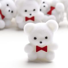Miniature White Flocked Baby Teddy Bears